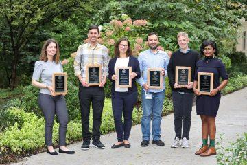 Recipients of 2018 Postdoc Achievement Awards. From left: postdocs David Toews, Ana Maria Porras, Elizabeth Day, Tisha Bohr, Susan Cheng and Oliver Bracko.